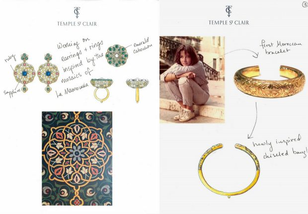 Pages from Temple St. Clair's sketchbook: La Mamounia inspiration for Nomad jewelry collection